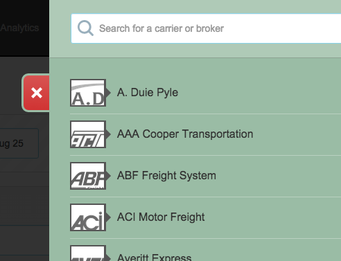 Screenshot of carrier panel