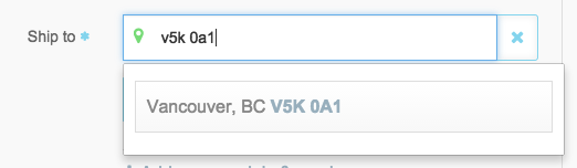 Screenshot of Canadian postal code