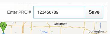 Screenshot of PRO number field