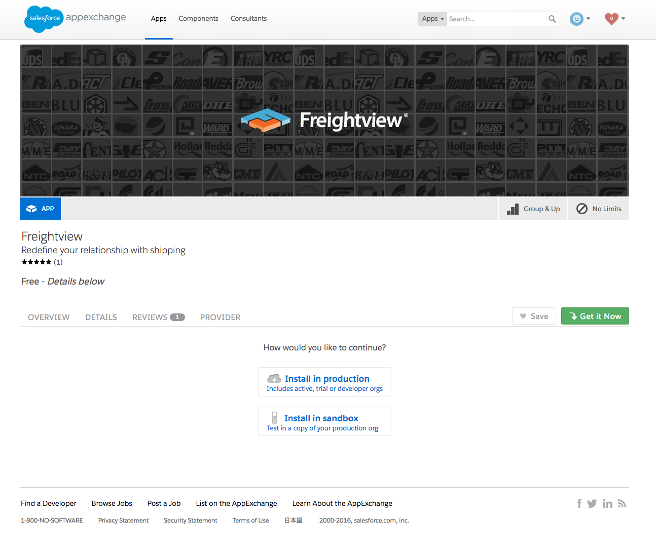 Freightview on Salesforce AppExchange Install in production