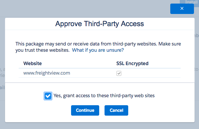 Freightview on Salesforce AppExchange Approve Third-Party Access