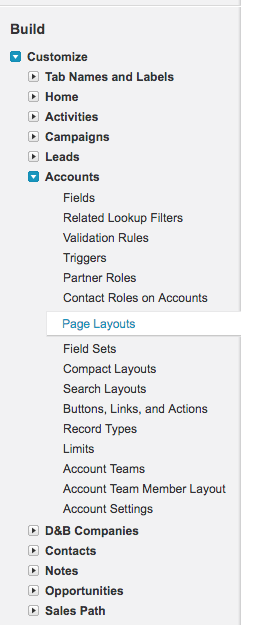 Customize Account Page Layouts menu item in Salesforce
