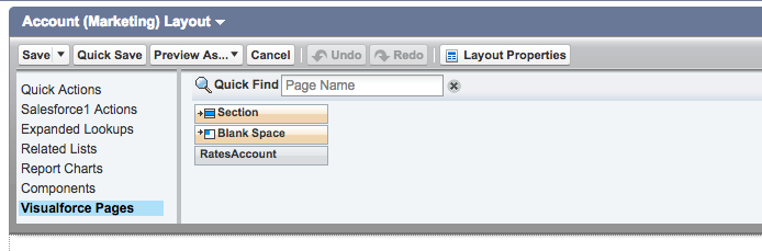 Visualforce Pages menu item in Account Layout in Salesforce
