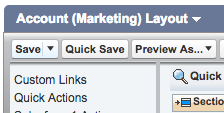 Save button in Account Layout section in Salesforce