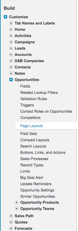 Customize Opportunity Page Layouts menu item in Salesforce