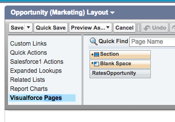 Visualforce Pages menu item in Opportunity Layout in Salesforce