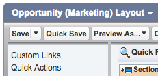 Save button in Opportunity Layout section in Salesforce