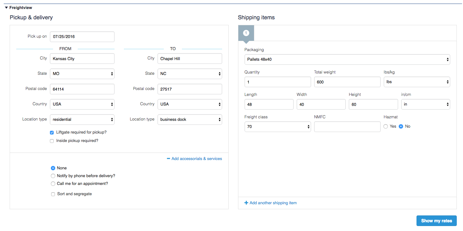 Freightview Rate Quote Request Form in Salesforce