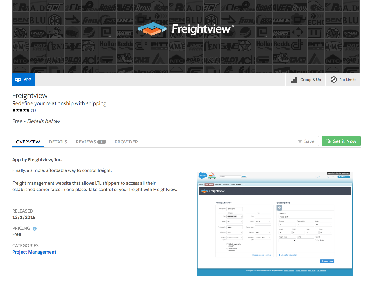 Freightview on Salesforce AppExchange Get it Now button