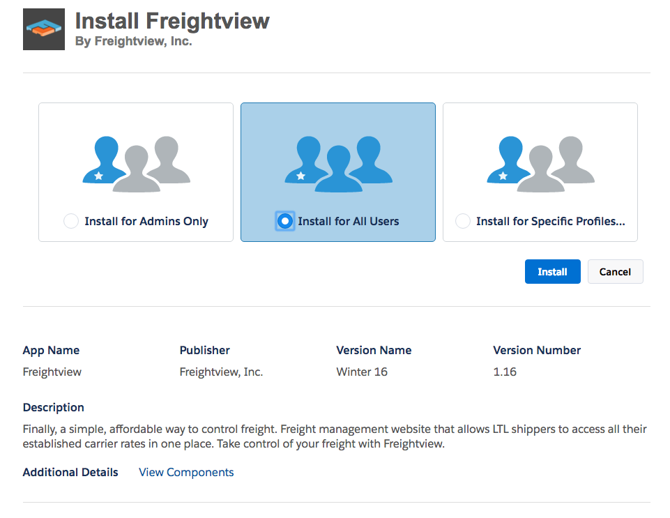 Freightview on Salesforce AppExchange Install for All Users
