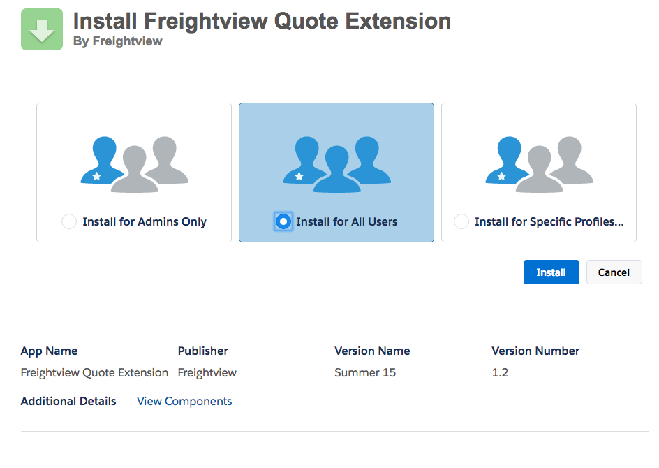Freightview Quote Extension on Salesforce AppExchange Install for All Users