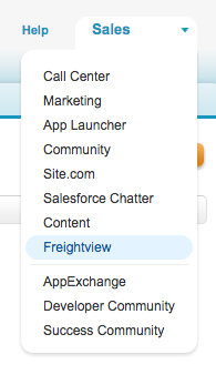 Select Freightview from Sales menu in Salesforce