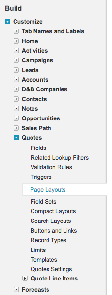 customize quote page layouts menu item in salesforce