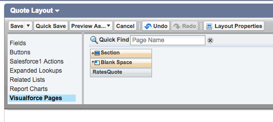 Visualforce Pages menu item in Quote Layout in Salesforce