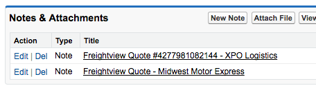 Freightview rate notes in Salesforce