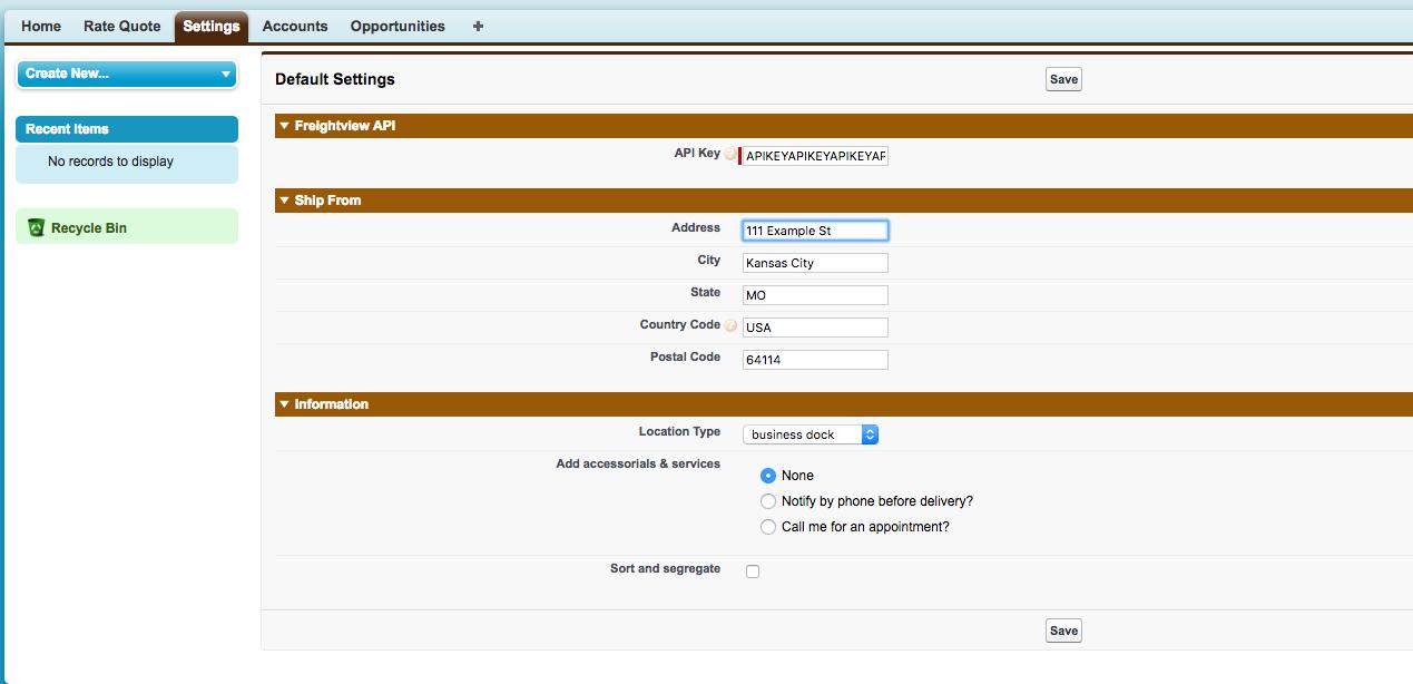 Settings tab in Salesforce