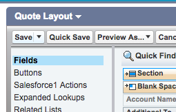 Save button in Quote Layout section in Salesforce