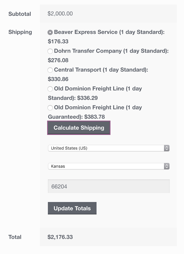 No accessorials when rating with Freightview for WooCommerce