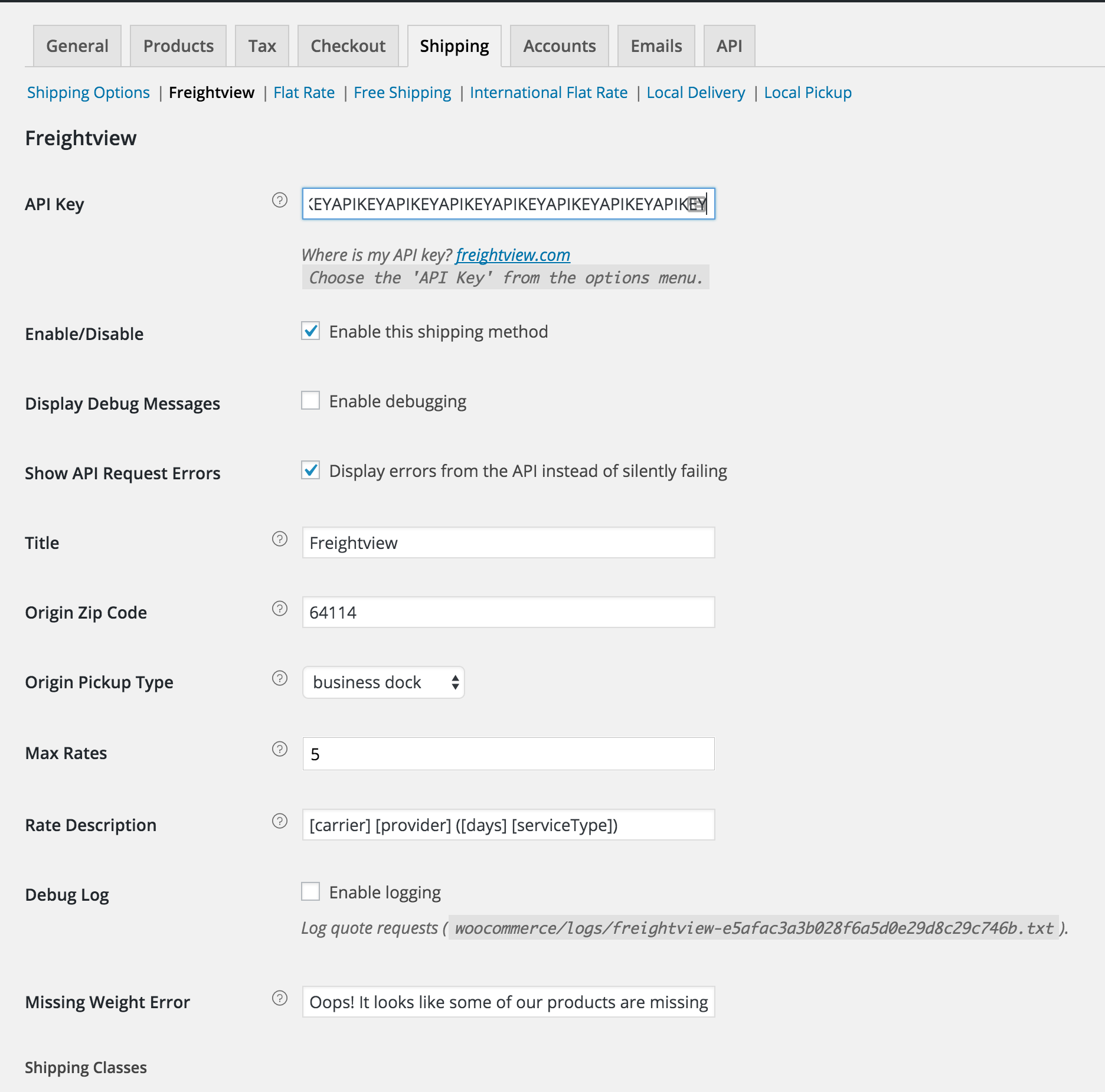 Freightview for WooCommerce settings