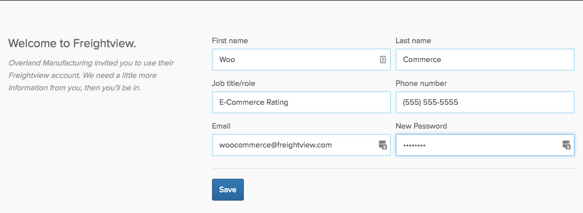 Fill out the Freightview signup