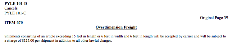 Overdimension rules tariff definition