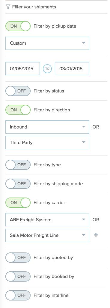 multiple shipment filters