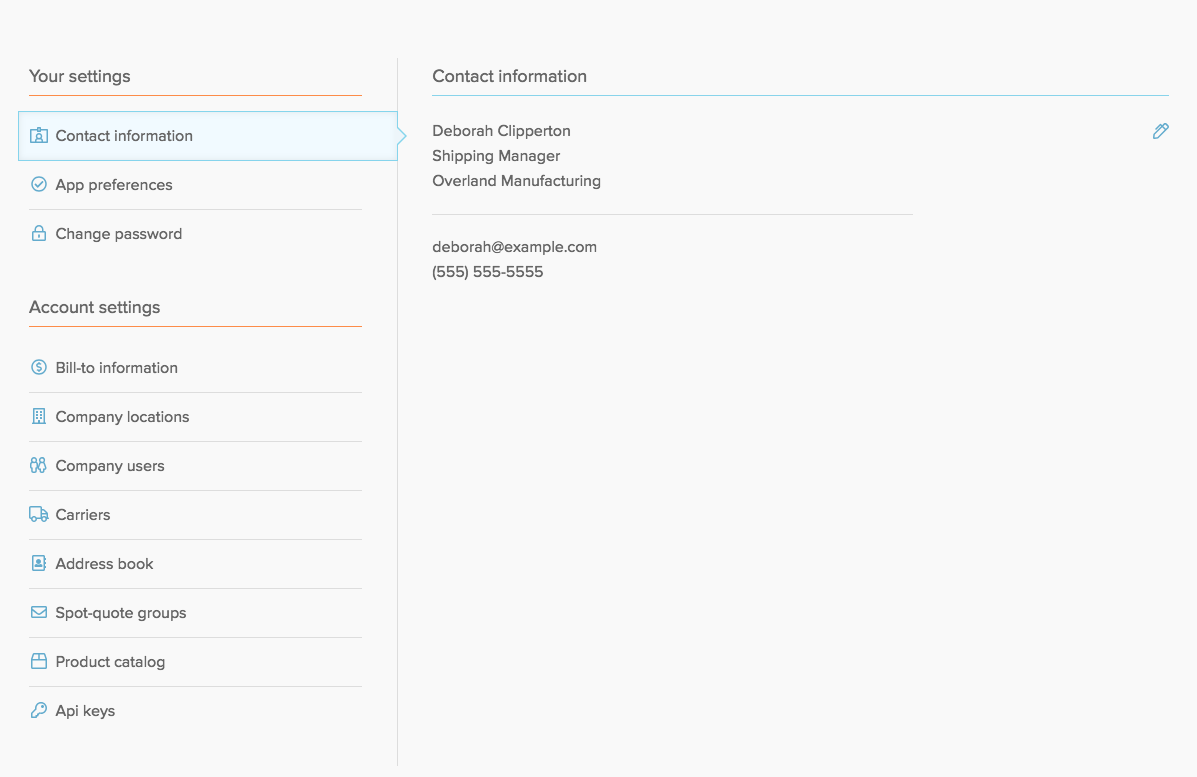 freightview settings page