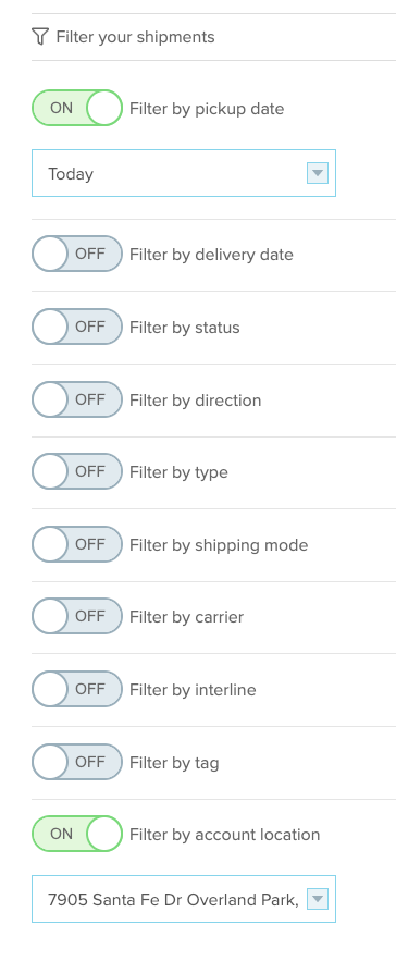 shipment filters